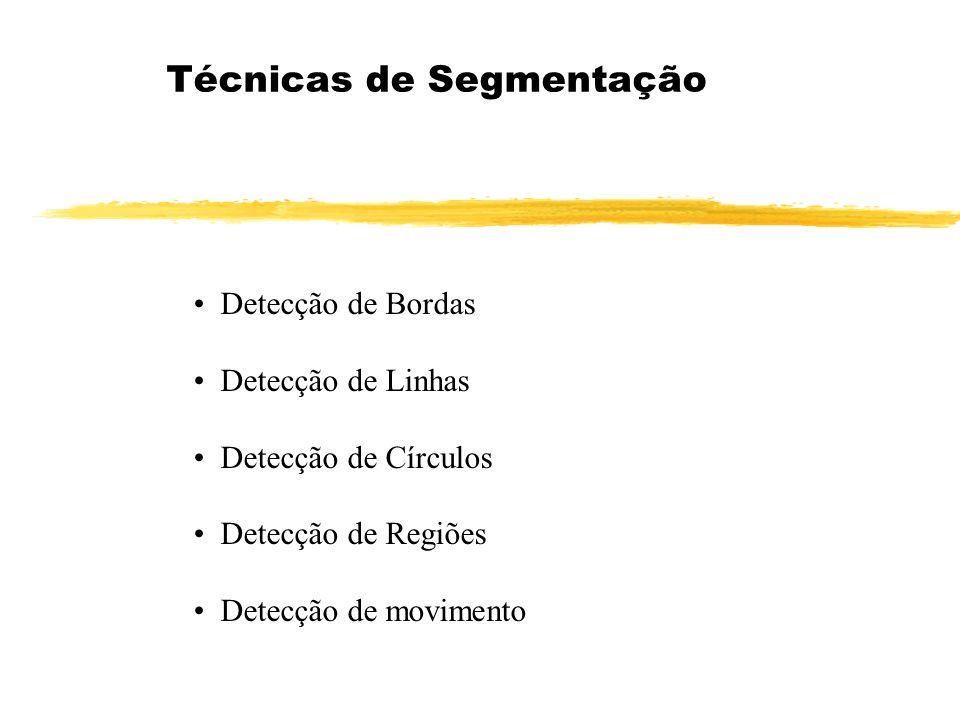 Técnicas de Segmentação Detecção de Bordas Detecção de Linhas Detecção de Círculos Detecção de Regiões Detecção de movimento