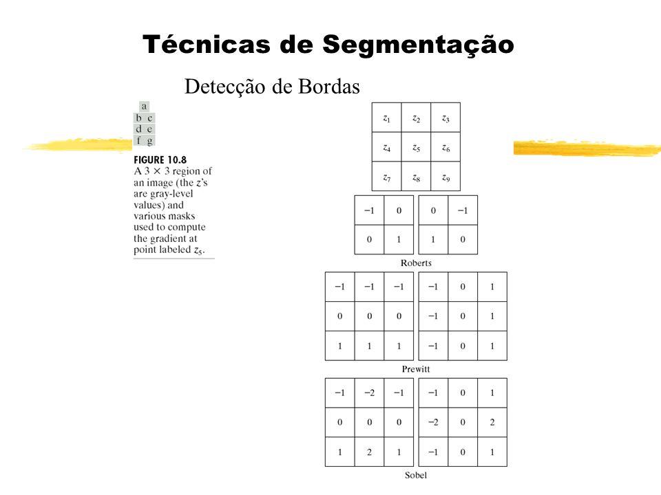 Detectores de Bordas e Linhas Detectores Combinados de Bordas e Linhas Detector de linhas w1w1 w2w2 w3w3 Detector de Bordas z Projeção de z no plano w 1 w 2 Projeção no plano w 3 θ Φ