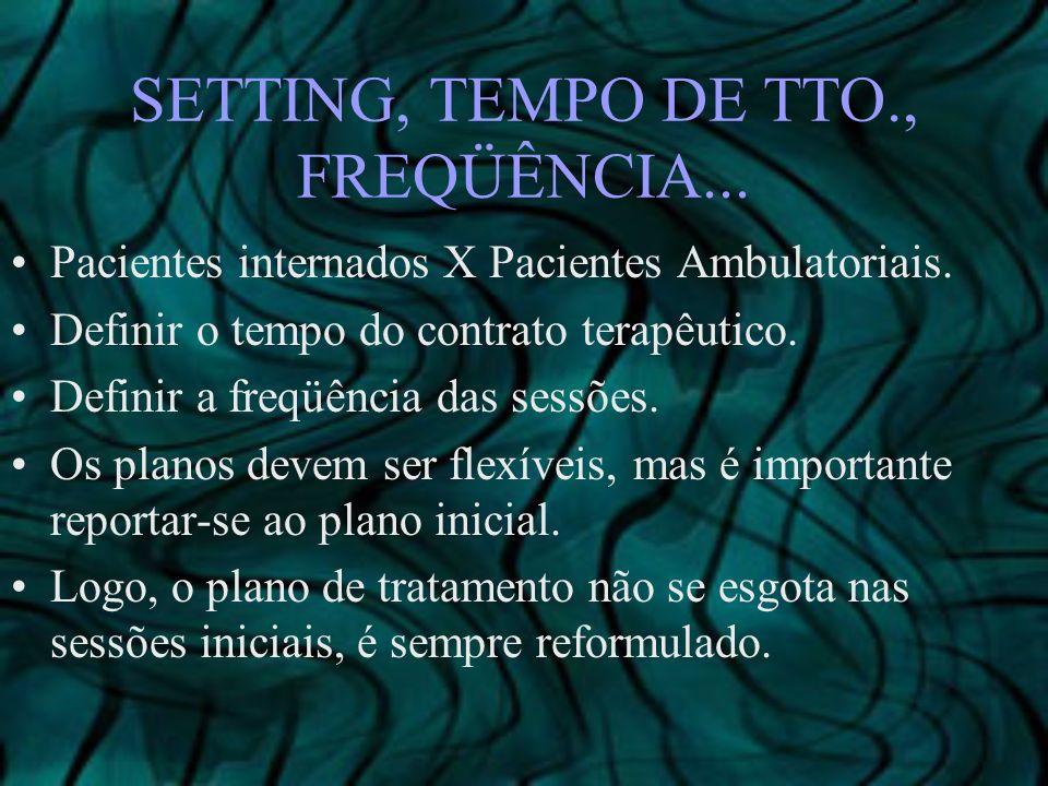 SETTING, TEMPO DE TTO., FREQÜÊNCIA... Pacientes internados X Pacientes Ambulatoriais. Definir o tempo do contrato terapêutico. Definir a freqüência da