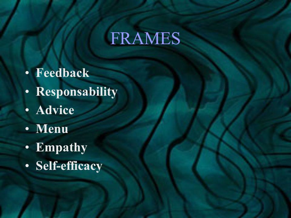 FRAMES Feedback Responsability Advice Menu Empathy Self-efficacy