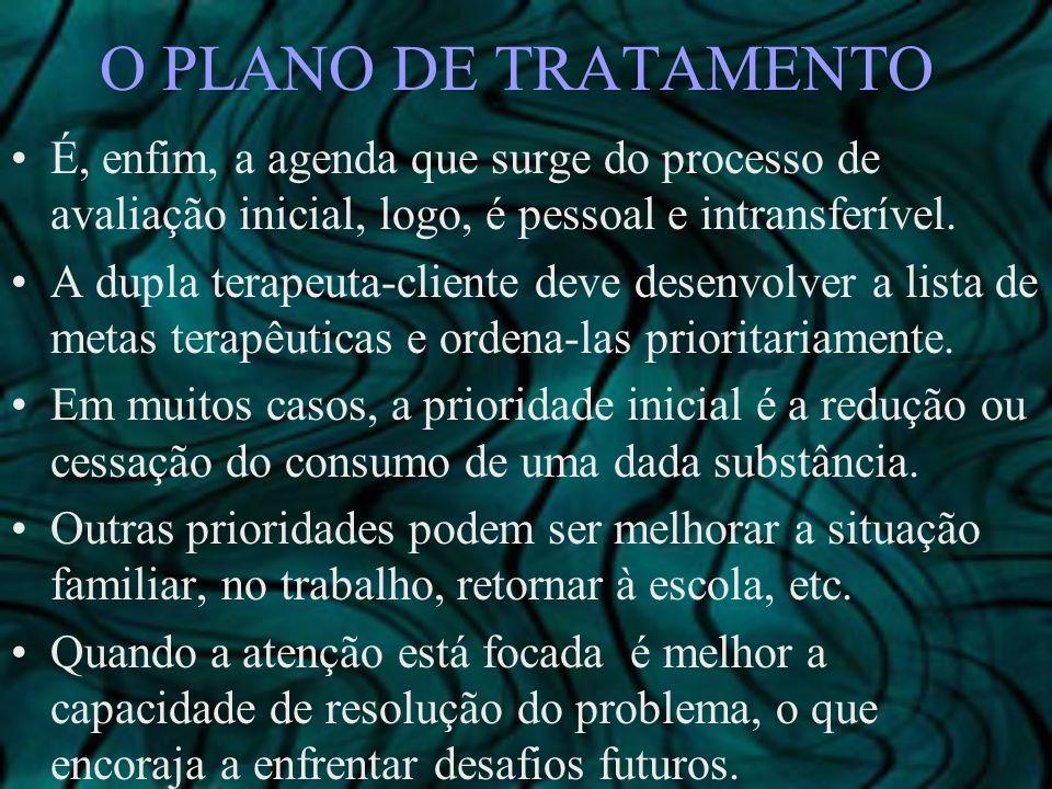 O PLANO DE TRATAMENTO É, enfim, a agenda que surge do processo de avaliação inicial, logo, é pessoal e intransferível. A dupla terapeuta-cliente deve
