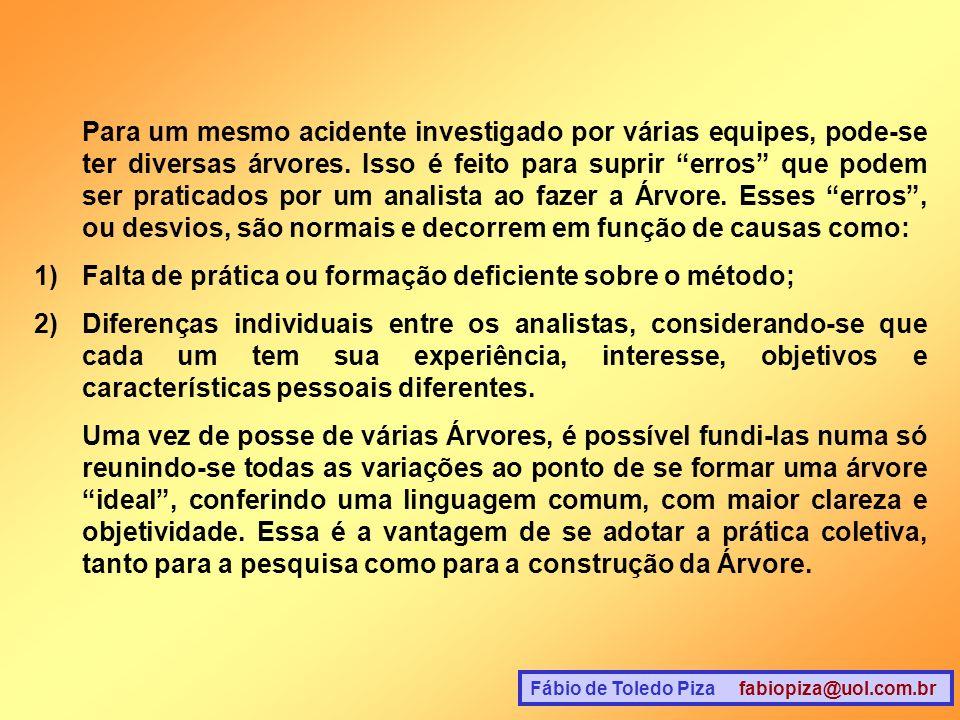 Fábio de Toledo Piza fabiopiza@uol.com.br Para um mesmo acidente investigado por várias equipes, pode-se ter diversas árvores. Isso é feito para supri