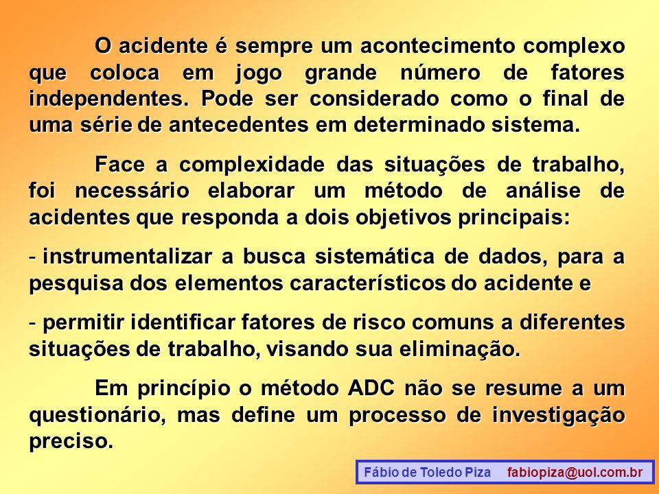 Fábio de Toledo Piza fabiopiza@uol.com.br O acidente é sempre um acontecimento complexo que coloca em jogo grande número de fatores independentes. Pod