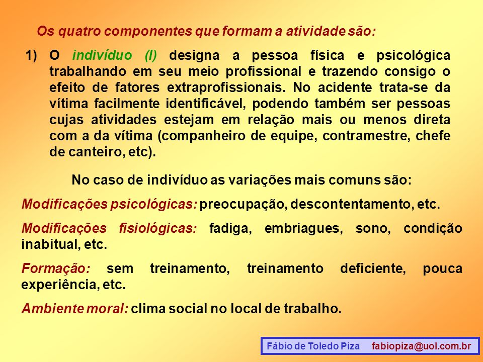 Fábio de Toledo Piza fabiopiza@uol.com.br Os quatro componentes que formam a atividade são: 1)O indivíduo (I) designa a pessoa física e psicológica tr
