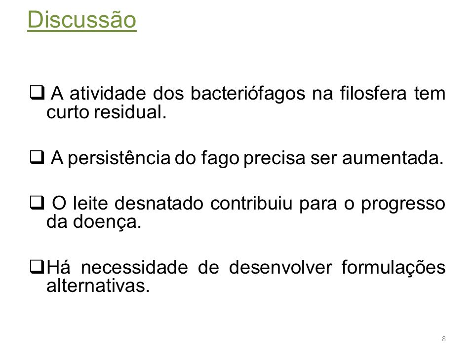 Conclusões O tratamento com fago é uma nova abordagem promissora.
