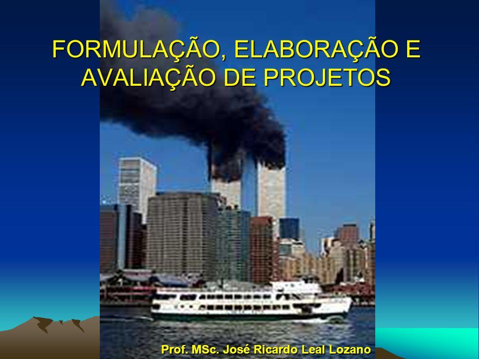 FORMULAÇÃO, ELABORAÇÃO E AVALIAÇÃO DE PROJETOS Prof. MSc. José Ricardo Leal Lozano