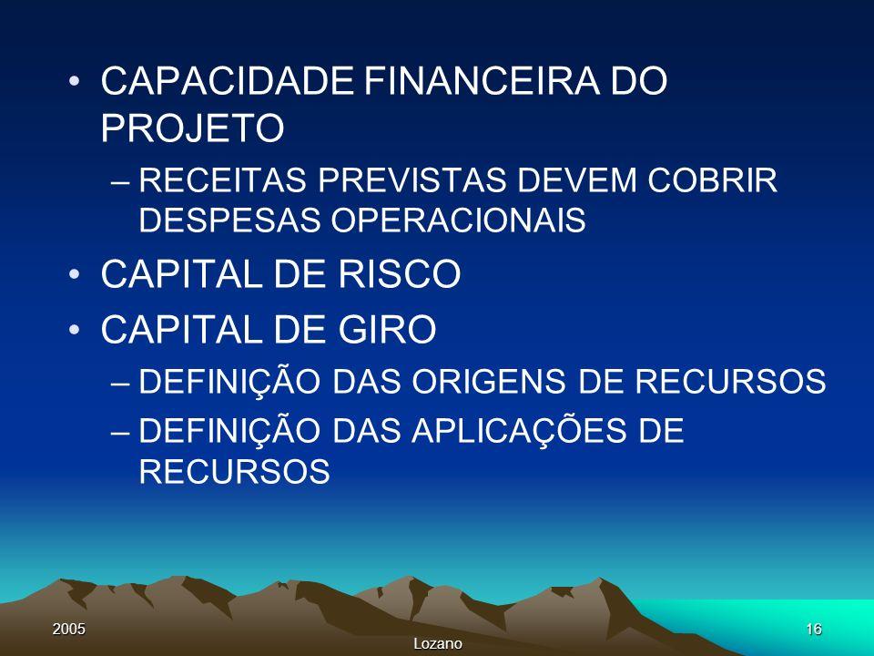 2005 Lozano 16 CAPACIDADE FINANCEIRA DO PROJETO –RECEITAS PREVISTAS DEVEM COBRIR DESPESAS OPERACIONAIS CAPITAL DE RISCO CAPITAL DE GIRO –DEFINIÇÃO DAS