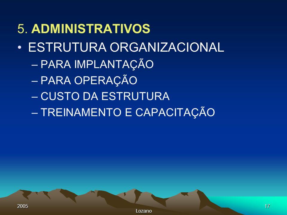 2005 Lozano 17 5. ADMINISTRATIVOS ESTRUTURA ORGANIZACIONAL –PARA IMPLANTAÇÃO –PARA OPERAÇÃO –CUSTO DA ESTRUTURA –TREINAMENTO E CAPACITAÇÃO