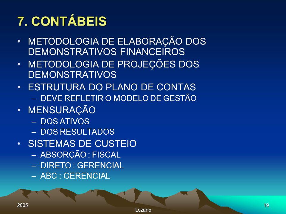 2005 Lozano 19 7. CONTÁBEIS METODOLOGIA DE ELABORAÇÃO DOS DEMONSTRATIVOS FINANCEIROS METODOLOGIA DE PROJEÇÕES DOS DEMONSTRATIVOS ESTRUTURA DO PLANO DE