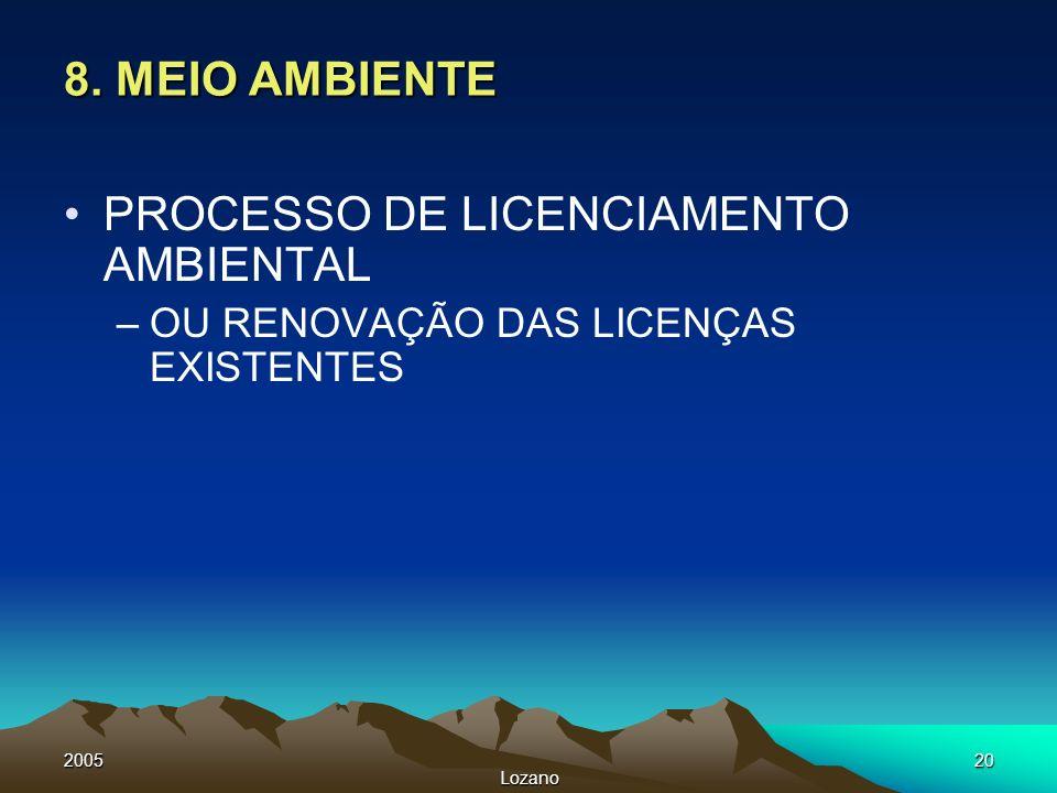 2005 Lozano 20 8. MEIO AMBIENTE PROCESSO DE LICENCIAMENTO AMBIENTAL –OU RENOVAÇÃO DAS LICENÇAS EXISTENTES