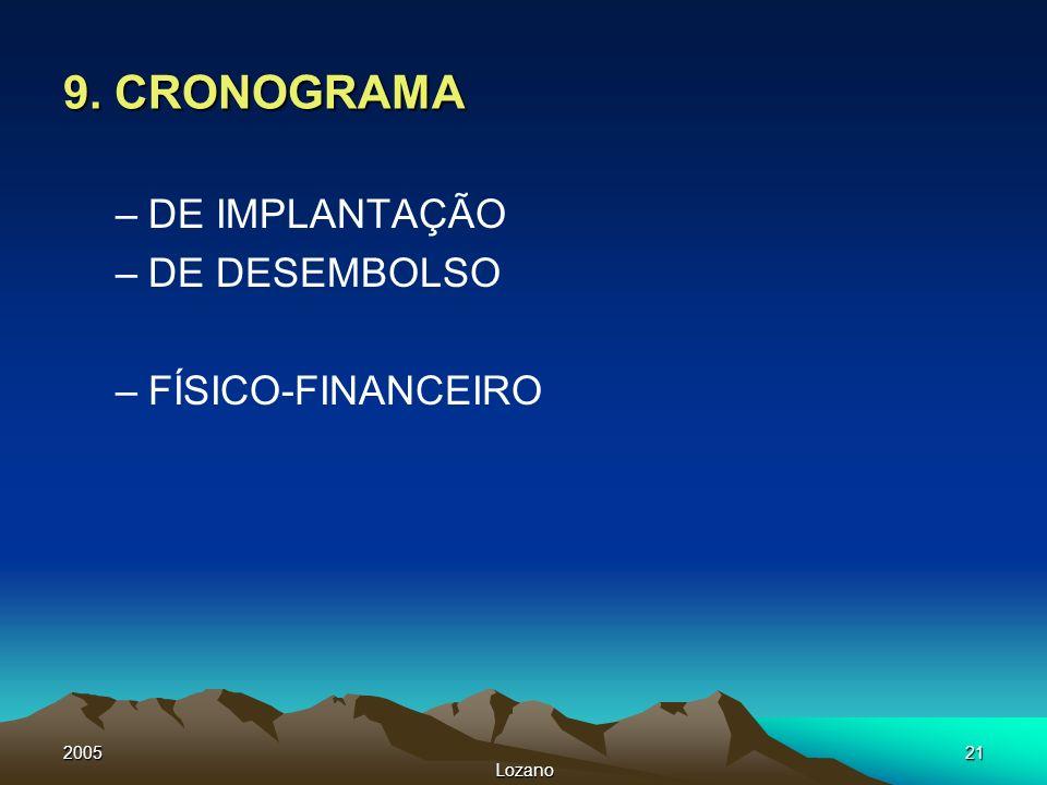 2005 Lozano 21 9. CRONOGRAMA –DE IMPLANTAÇÃO –DE DESEMBOLSO –FÍSICO-FINANCEIRO