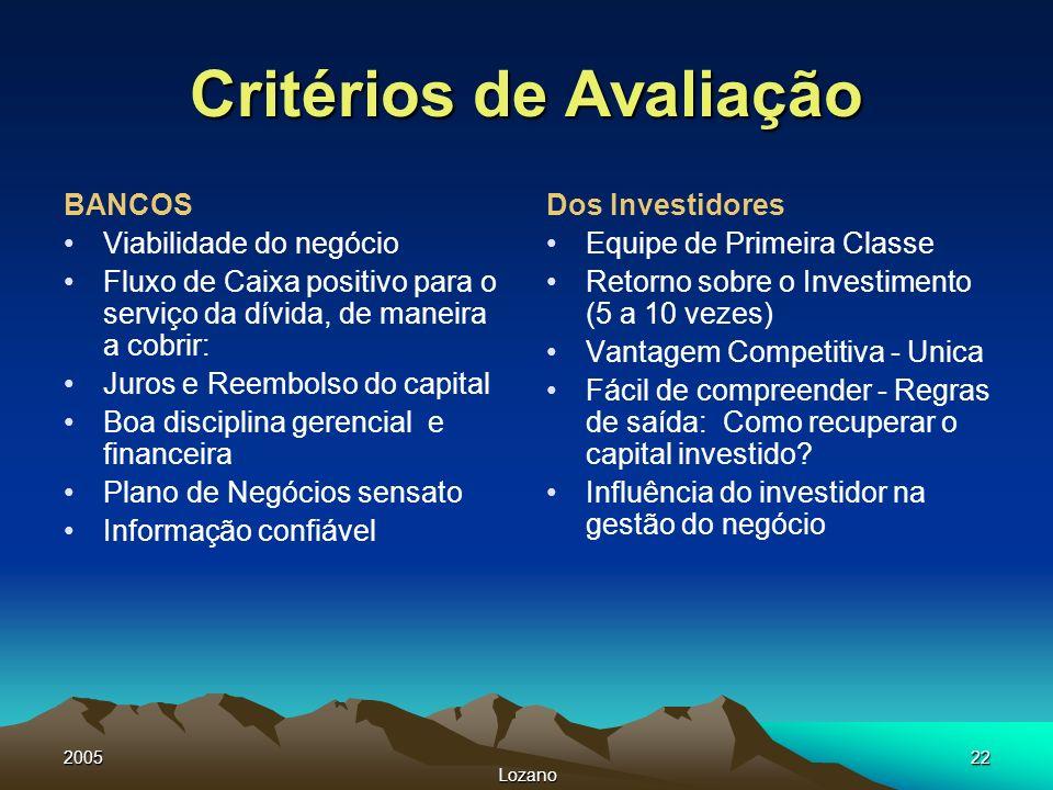 2005 Lozano 22 Critérios de Avaliação BANCOS Viabilidade do negócio Fluxo de Caixa positivo para o serviço da dívida, de maneira a cobrir: Juros e Ree