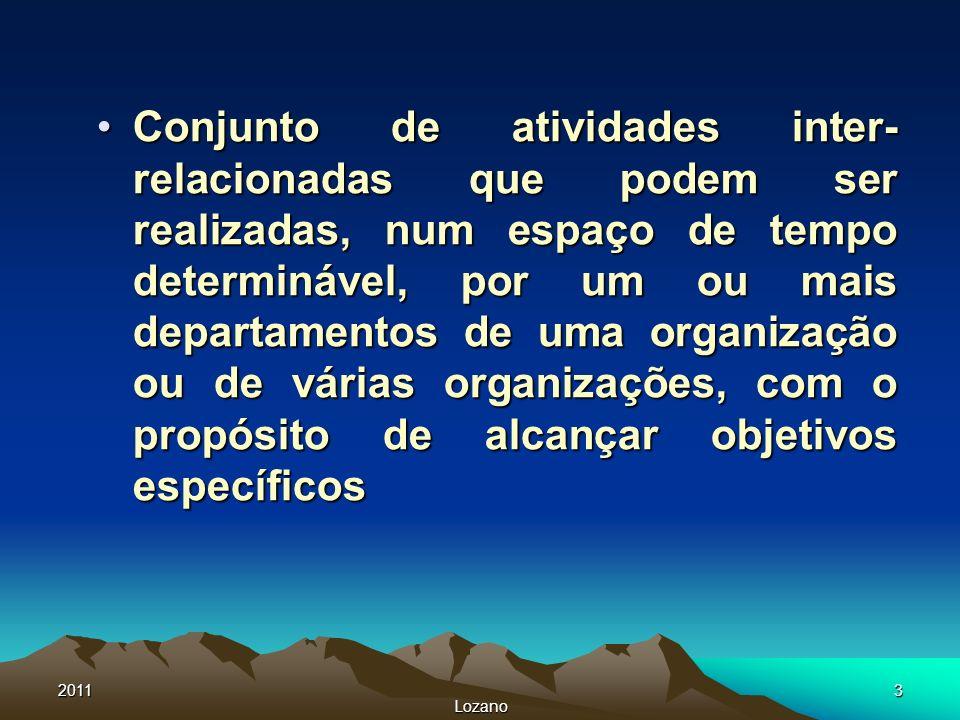 2011 Lozano 3 Conjunto de atividades inter- relacionadas que podem ser realizadas, num espaço de tempo determinável, por um ou mais departamentos de u