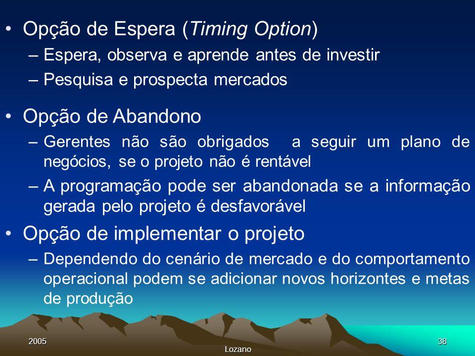 2005 Lozano 38 Opção de Espera (Timing Option) –Espera, observa e aprende antes de investir –Pesquisa e prospecta mercados Opção de Abandono –Gerentes