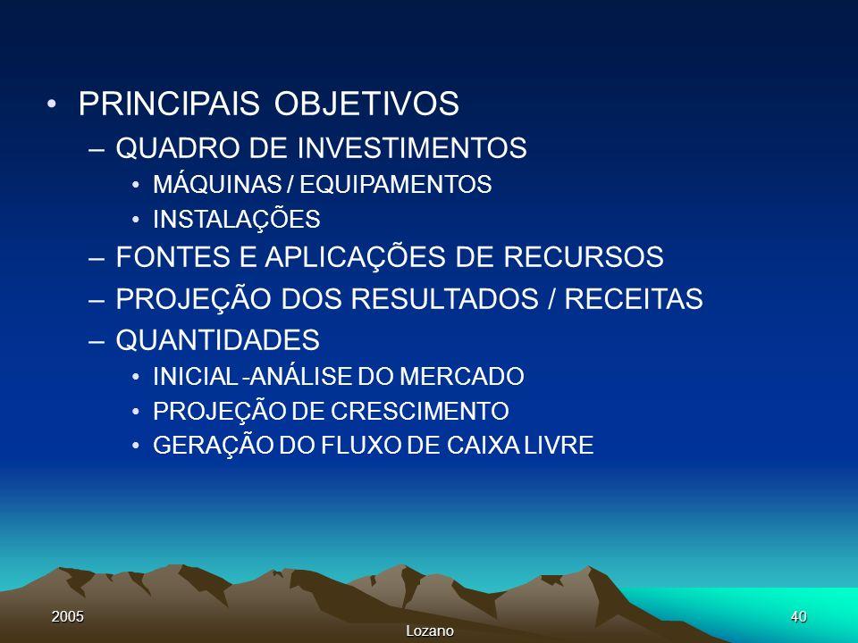2005 Lozano 40 PRINCIPAIS OBJETIVOS –QUADRO DE INVESTIMENTOS MÁQUINAS / EQUIPAMENTOS INSTALAÇÕES –FONTES E APLICAÇÕES DE RECURSOS –PROJEÇÃO DOS RESULT