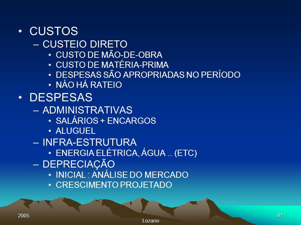 2005 Lozano 41 CUSTOS –CUSTEIO DIRETO CUSTO DE MÃO-DE-OBRA CUSTO DE MATÉRIA-PRIMA DESPESAS SÃO APROPRIADAS NO PERÍODO NÀO HÁ RATEIO DESPESAS –ADMINIST