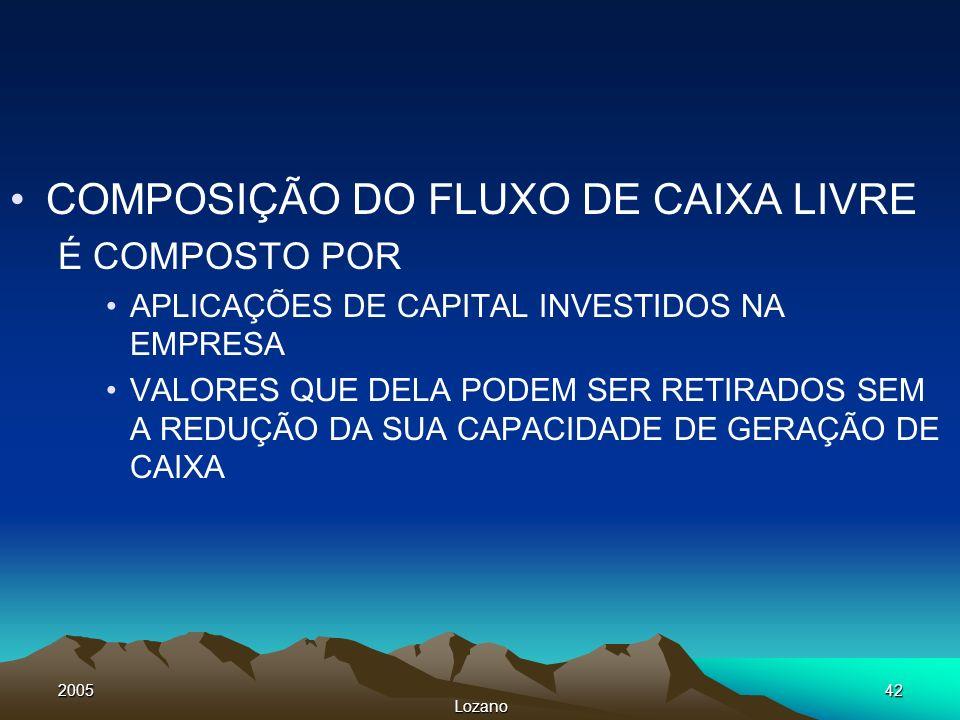 2005 Lozano 42 COMPOSIÇÃO DO FLUXO DE CAIXA LIVRE É COMPOSTO POR APLICAÇÕES DE CAPITAL INVESTIDOS NA EMPRESA VALORES QUE DELA PODEM SER RETIRADOS SEM