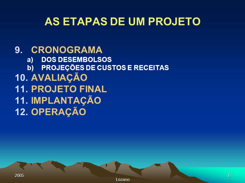 2005 Lozano 6 AS ETAPAS DE UM PROJETO 9.CRONOGRAMA a)DOS DESEMBOLSOS b)PROJEÇÕES DE CUSTOS E RECEITAS 10.AVALIAÇÃO 11.PROJETO FINAL 11.IMPLANTAÇÃO 12.