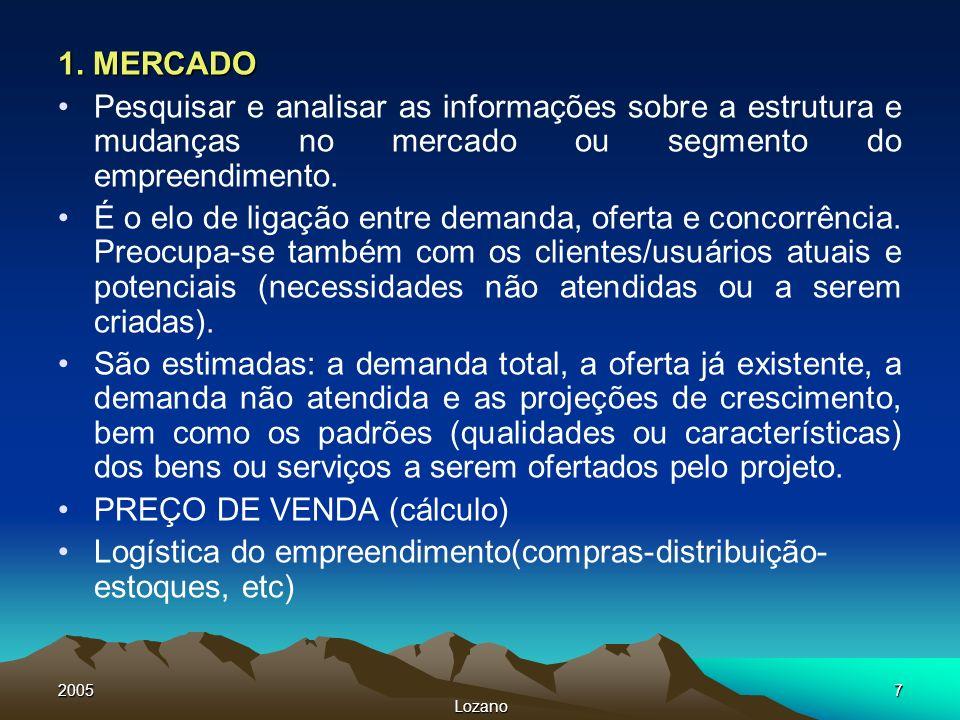 2005 Lozano 7 1. MERCADO Pesquisar e analisar as informações sobre a estrutura e mudanças no mercado ou segmento do empreendimento. É o elo de ligação