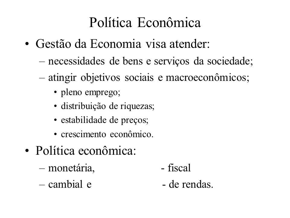 Política Econômica Gestão da Economia visa atender: –necessidades de bens e serviços da sociedade; –atingir objetivos sociais e macroeconômicos; pleno