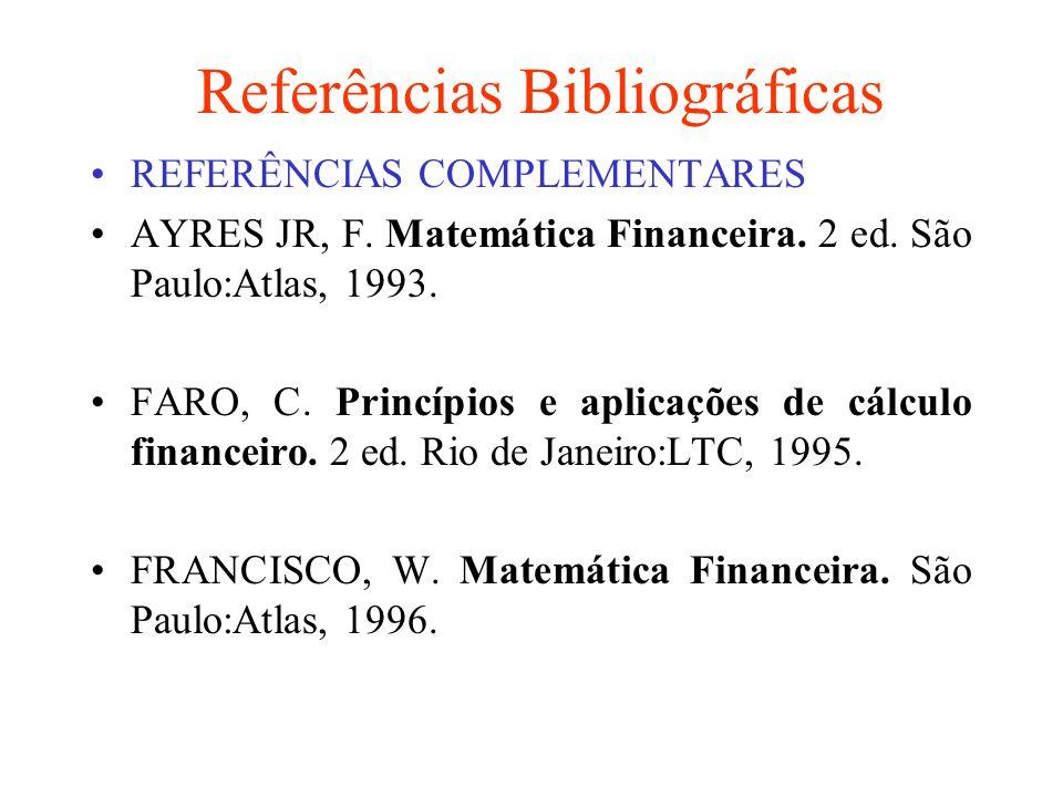Referências Bibliográficas REFERÊNCIAS COMPLEMENTARES MILONI, G.