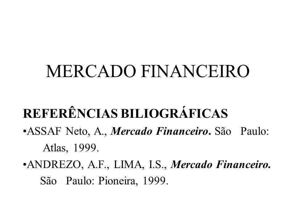 MERCADO FINANCEIRO REFERÊNCIAS BILIOGRÁFICAS ASSAF Neto, A., Mercado Financeiro. São Paulo: Atlas, 1999. ANDREZO, A.F., LIMA, I.S., Mercado Financeiro