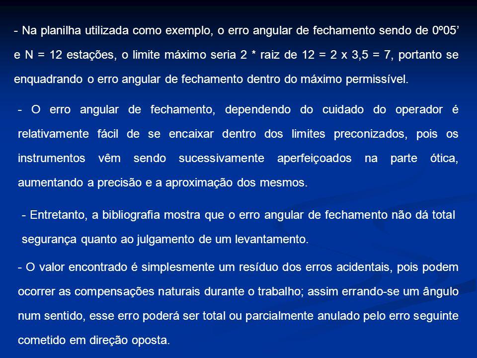 - Na planilha utilizada como exemplo, o erro angular de fechamento sendo de 0º05 e N = 12 estações, o limite máximo seria 2 * raiz de 12 = 2 x 3,5 = 7