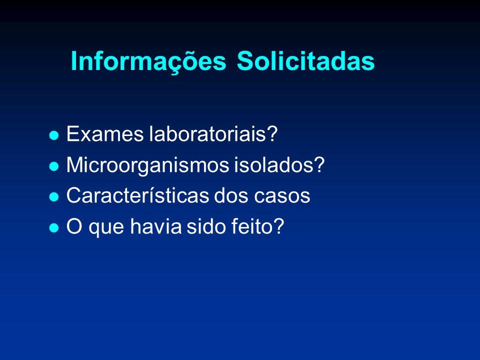 Informações Solicitadas Exames laboratoriais? Microorganismos isolados? Características dos casos O que havia sido feito?