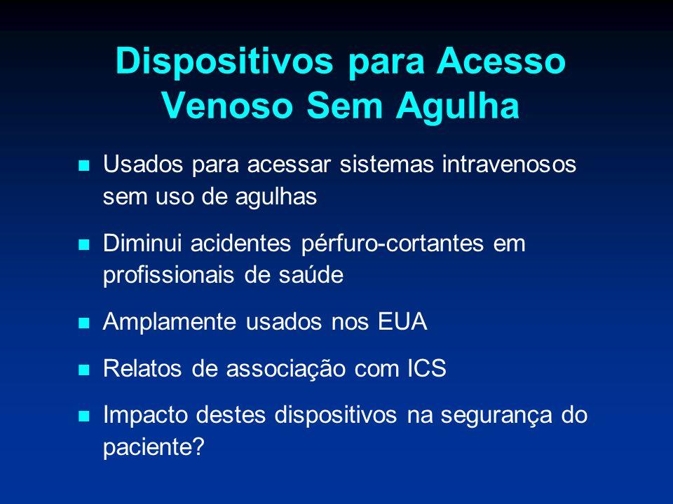 Dispositivos para Acesso Venoso Sem Agulha Usados para acessar sistemas intravenosos sem uso de agulhas Diminui acidentes pérfuro-cortantes em profiss