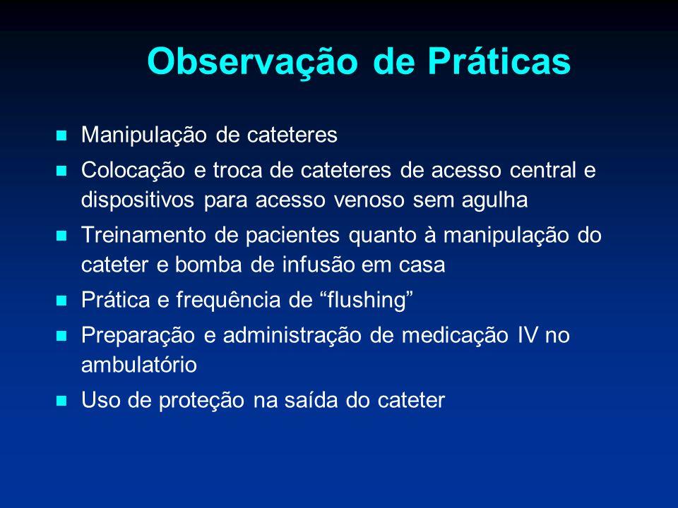 Observação de Práticas Manipulação de cateteres Colocação e troca de cateteres de acesso central e dispositivos para acesso venoso sem agulha Treiname