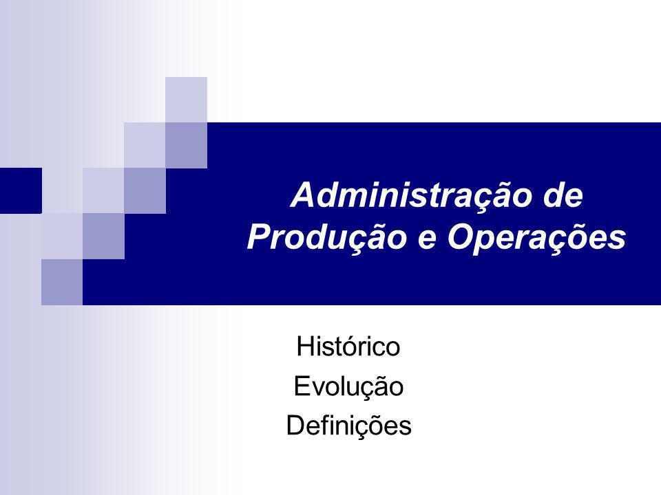 Administração de Produção e Operações Histórico Evolução Definições