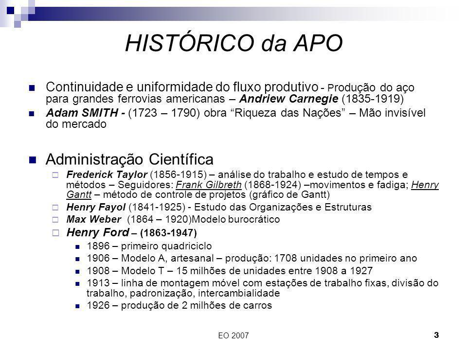 EO 20073 Continuidade e uniformidade do fluxo produtivo - P rodução do aço para grandes ferrovias americanas – Andriew Carnegie (1835-1919) Adam SMITH