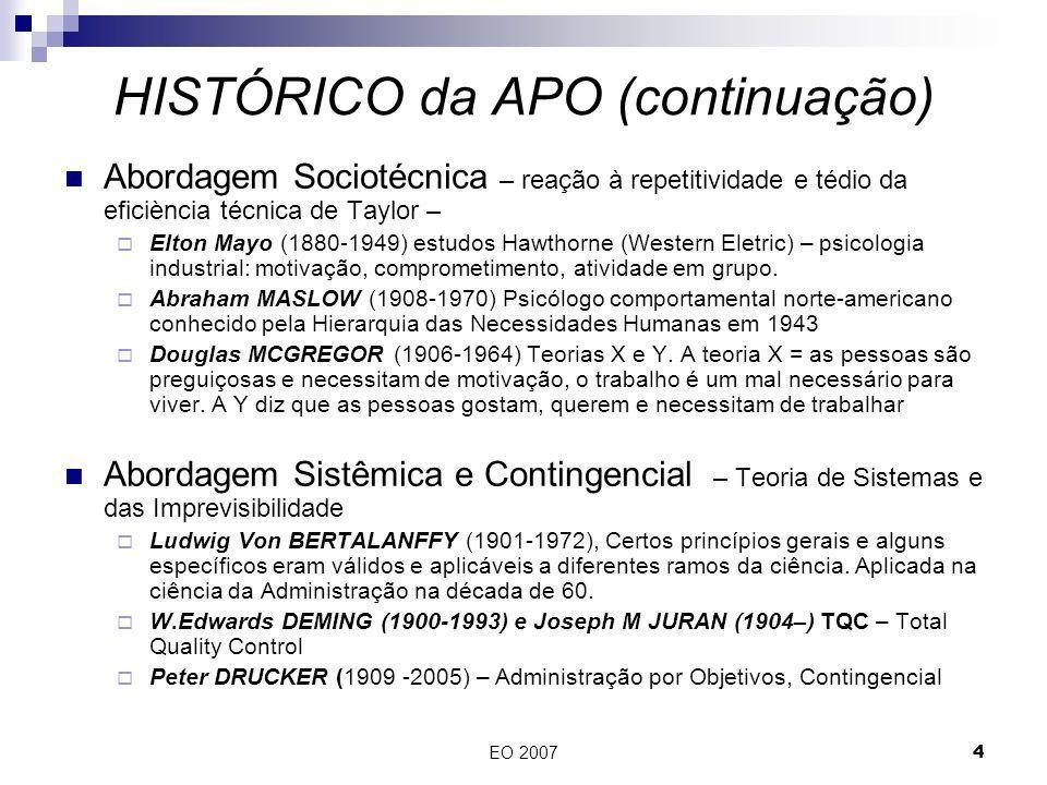 EO 20074 Abordagem Sociotécnica – reação à repetitividade e tédio da eficiència técnica de Taylor – Elton Mayo (1880-1949) estudos Hawthorne (Western