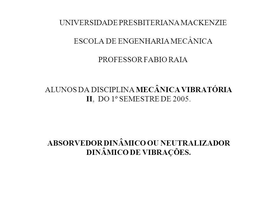 UNIVERSIDADE PRESBITERIANA MACKENZIE ESCOLA DE ENGENHARIA MECÂNICA PROFESSOR FABIO RAIA ALUNOS DA DISCIPLINA MECÂNICA VIBRATÓRIA II, DO 1º SEMESTRE DE
