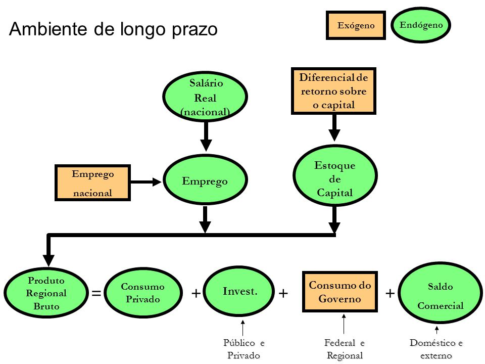 Ambiente de longo prazo Consumo do Governo Diferencial de retorno sobre o capital Estoque de Capital Consumo Privado Emprego =+++ Endógeno Exógeno Sal