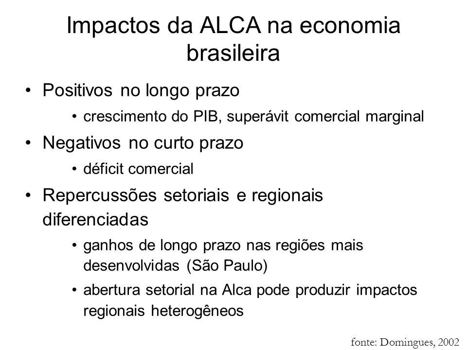 Positivos no longo prazo crescimento do PIB, superávit comercial marginal Negativos no curto prazo déficit comercial Repercussões setoriais e regionai