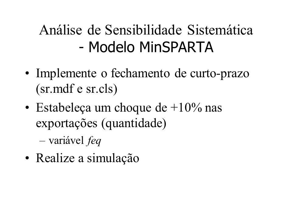 Análise de Sensibilidade Sistemática - Modelo MinSPARTA Implemente o fechamento de curto-prazo (sr.mdf e sr.cls) Estabeleça um choque de +10% nas expo