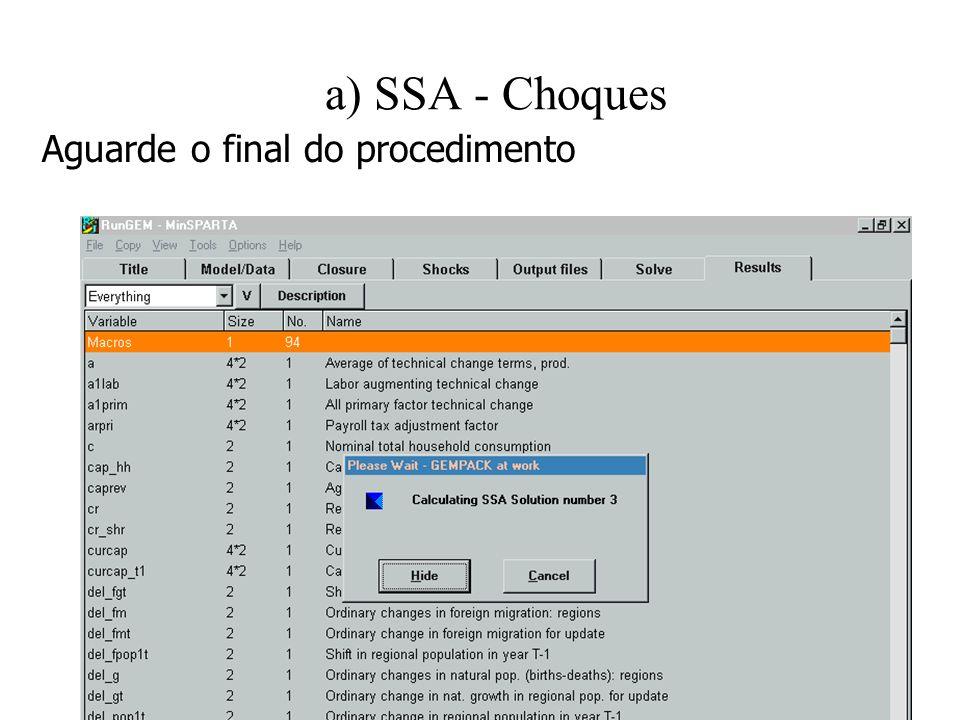 a) SSA - Choques Aguarde o final do procedimento