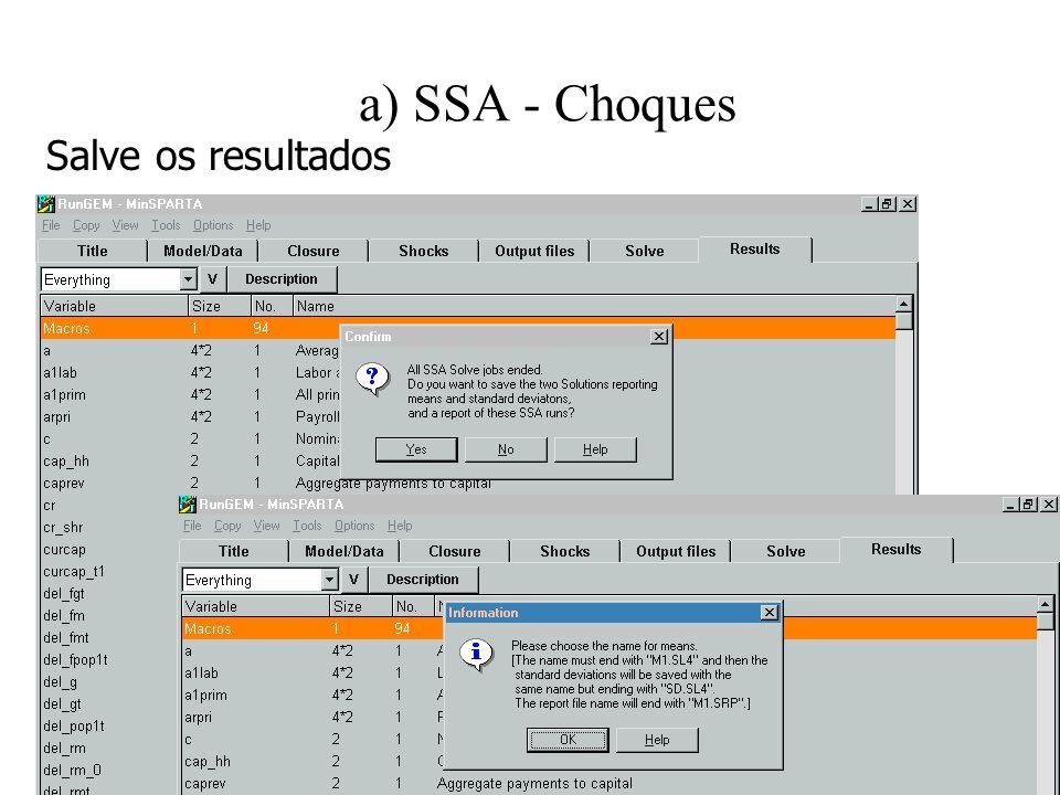 a) SSA - Choques Salve os resultados