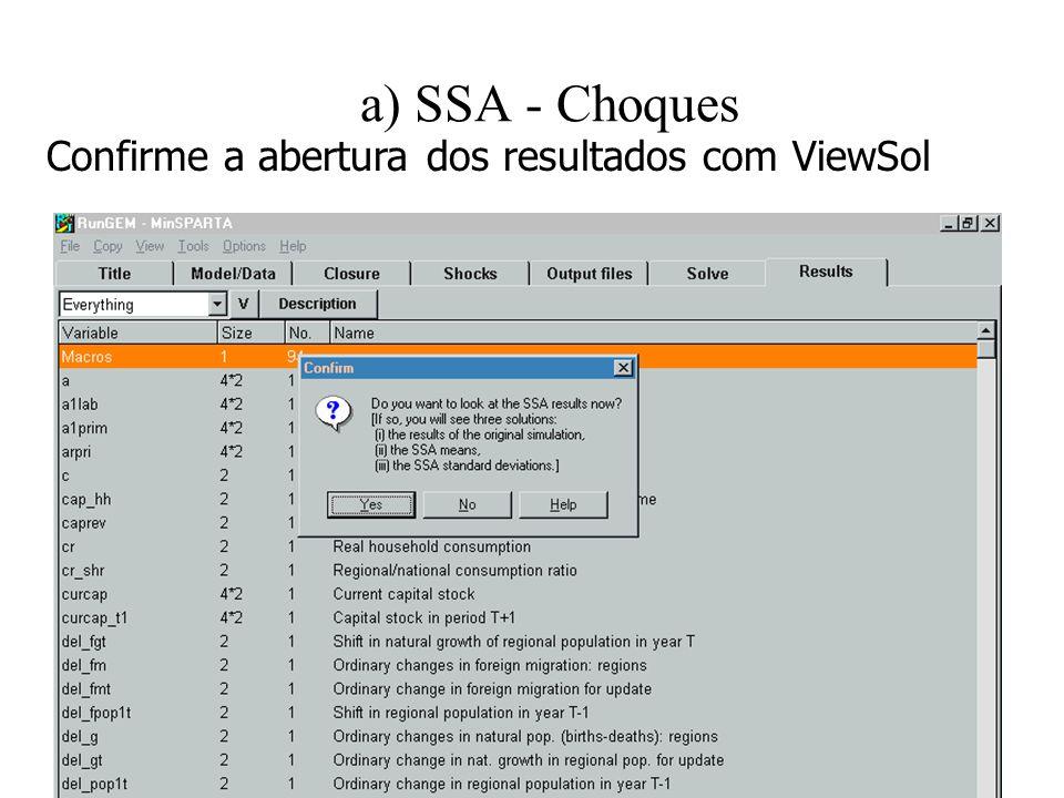 a) SSA - Choques Confirme a abertura dos resultados com ViewSol