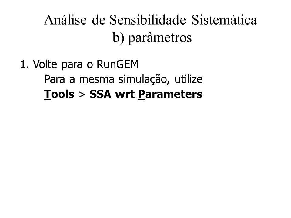 Análise de Sensibilidade Sistemática b) parâmetros 1. Volte para o RunGEM Para a mesma simulação, utilize Tools > SSA wrt Parameters