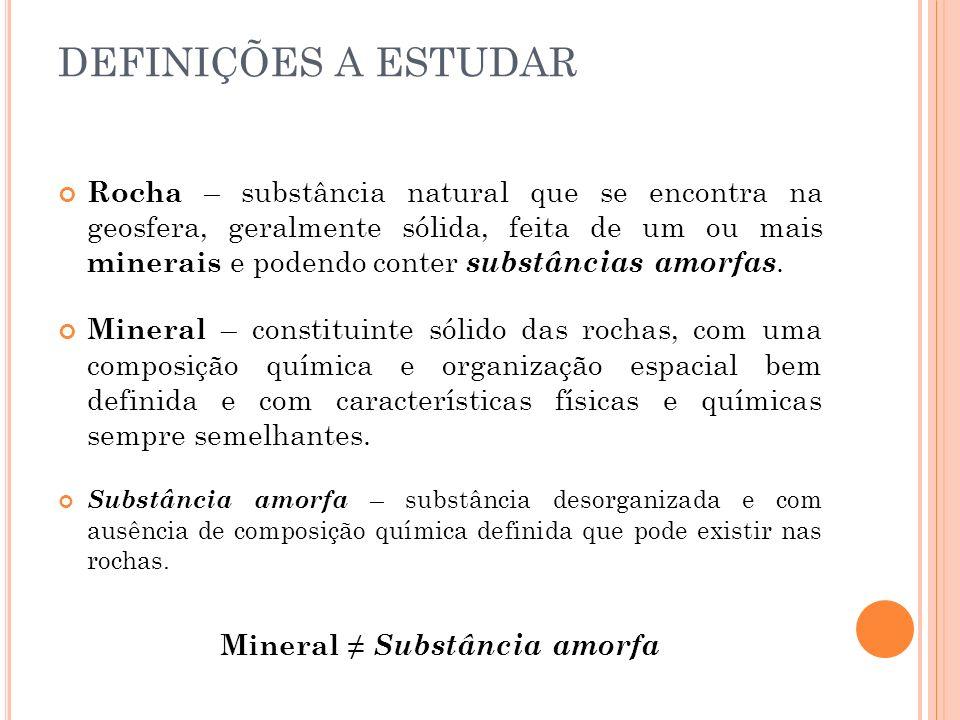 M INERAIS Características dos Minerais: Dureza – escala de Mohs (mede a resistência à riscagem por parte dos minerais).