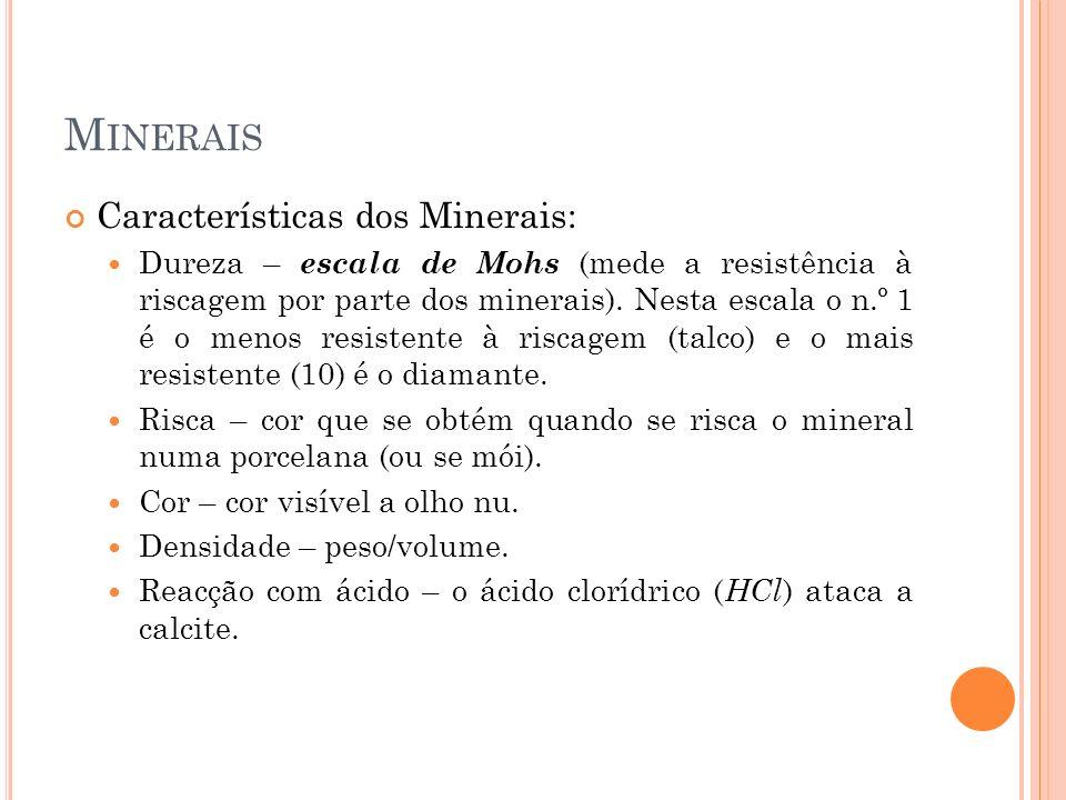 M INERAIS Outras características dos Minerais: Clivagem – capacidade do mineral para se separar em superfícies planas.