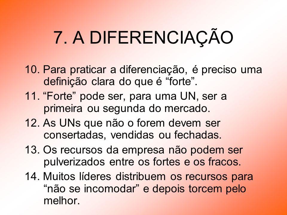 7. A DIFERENCIAÇÃO 10. Para praticar a diferenciação, é preciso uma definição clara do que é forte. 11. Forte pode ser, para uma UN, ser a primeira ou