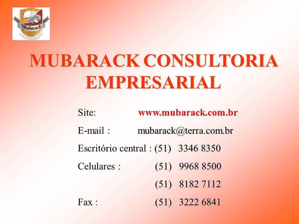 MUBARACK CONSULTORIA EMPRESARIAL Site: www.mubarack.com.br mubarack@terra.com.br E-mail :mubarack@terra.com.br (51) 3346 8350 Escritório central : (51
