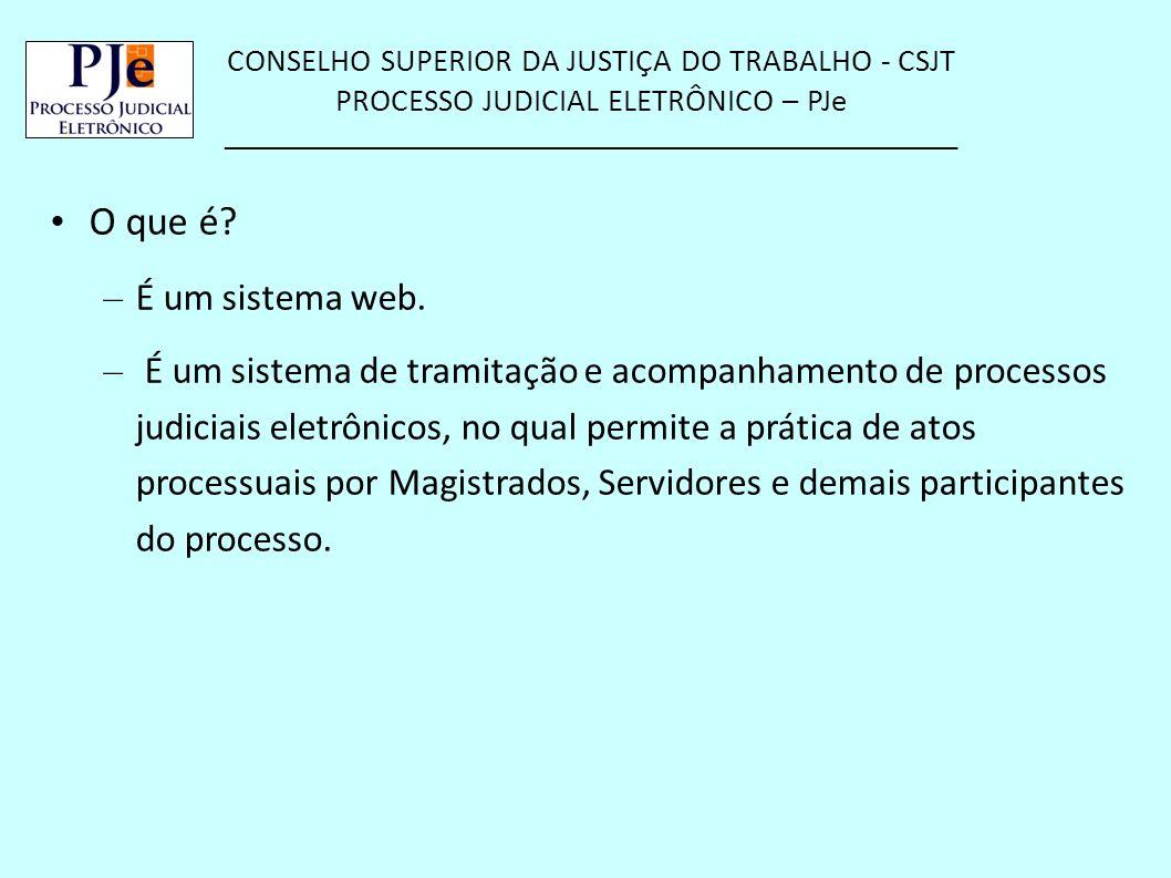 CONSELHO SUPERIOR DA JUSTIÇA DO TRABALHO - CSJT PROCESSO JUDICIAL ELETRÔNICO – PJe __________________________________________________ O que é? – É um