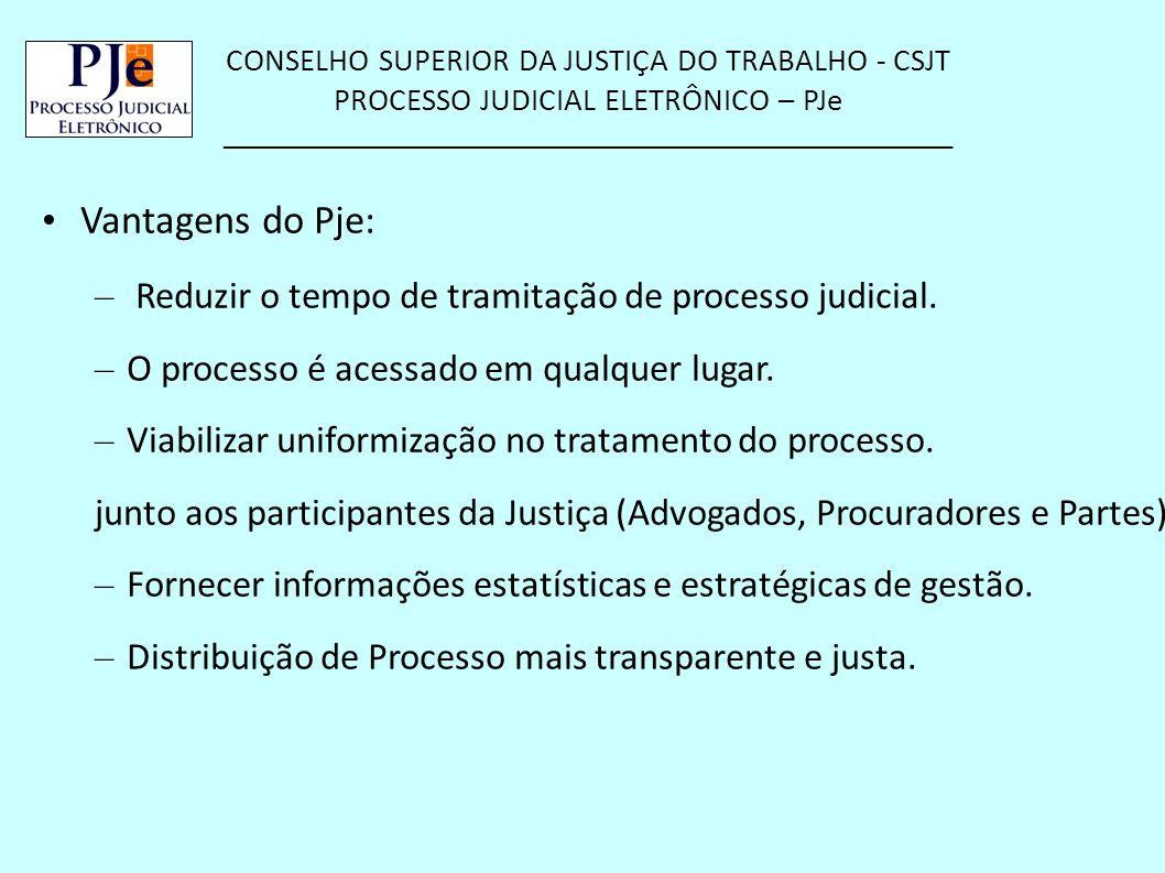 CONSELHO SUPERIOR DA JUSTIÇA DO TRABALHO - CSJT PROCESSO JUDICIAL ELETRÔNICO – PJe __________________________________________________ Vantagens do Pje