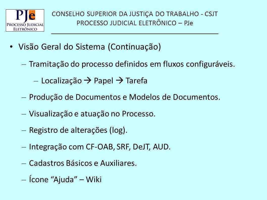CONSELHO SUPERIOR DA JUSTIÇA DO TRABALHO - CSJT PROCESSO JUDICIAL ELETRÔNICO – PJe __________________________________________________ Visão Geral do S