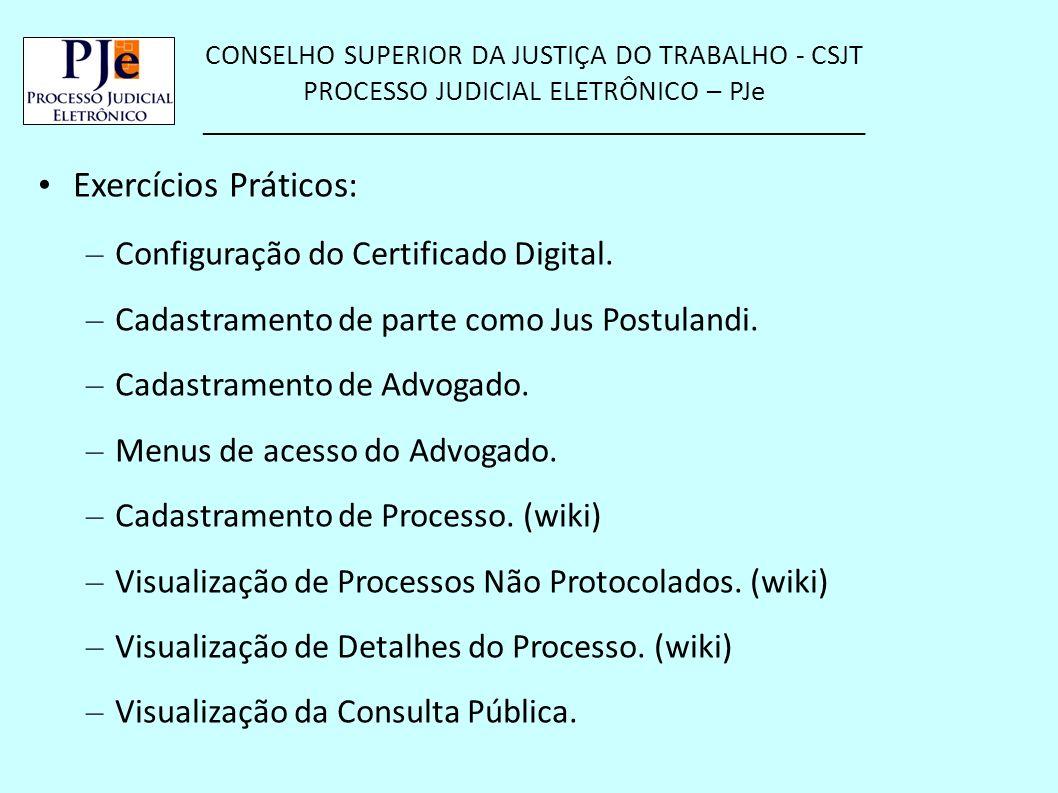CONSELHO SUPERIOR DA JUSTIÇA DO TRABALHO - CSJT PROCESSO JUDICIAL ELETRÔNICO – PJe __________________________________________________ Exercícios Práti