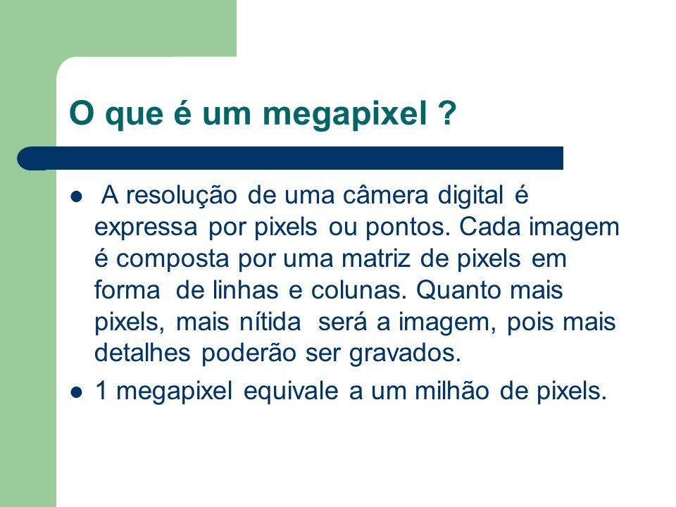 O que é um megapixel ? A resolução de uma câmera digital é expressa por pixels ou pontos. Cada imagem é composta por uma matriz de pixels em forma de